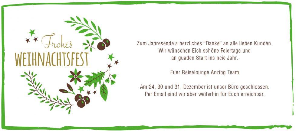 Frohe Weihnachten wünscht Eich die Reiselounge Anzing